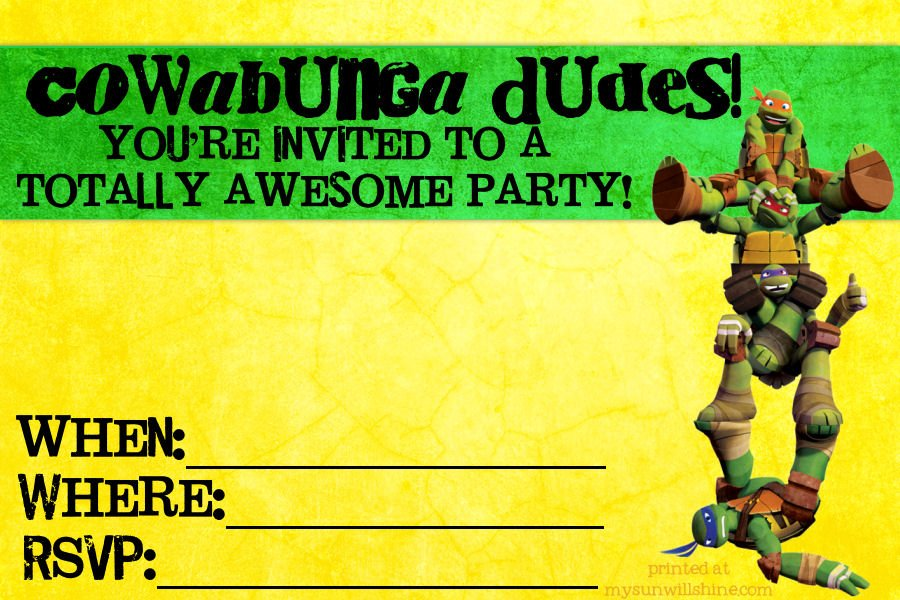 Teenage Mutant Ninja Turtles Birthday Invitations Templates