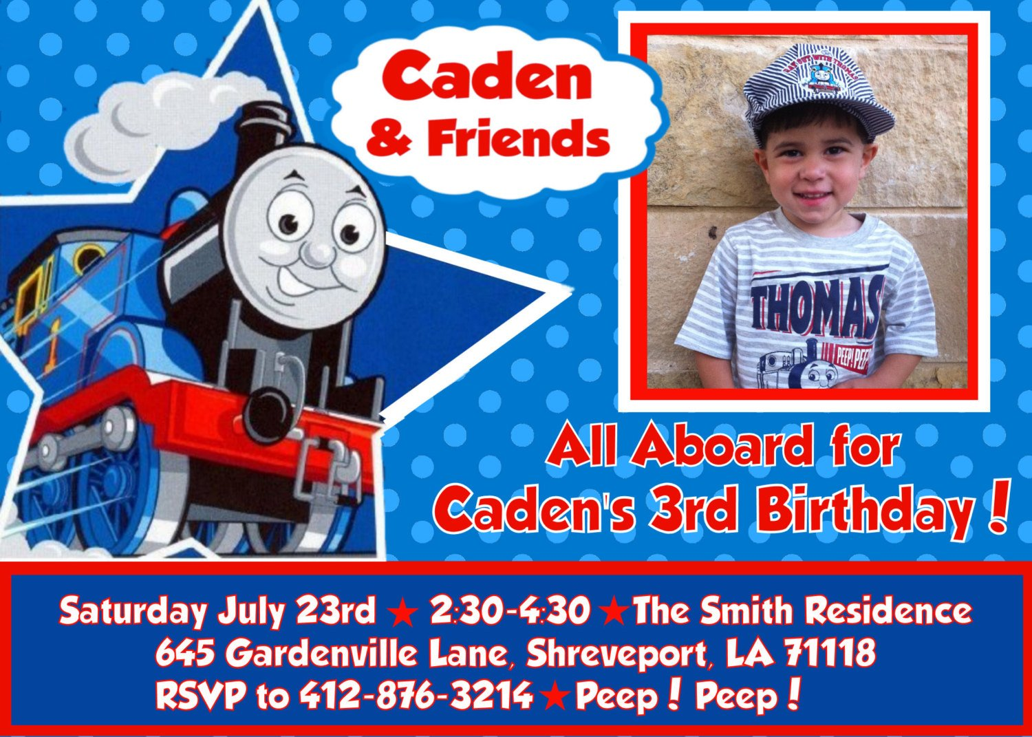 Thomas The Train Birthday Party Invitations Template | Drevio Invitations Design