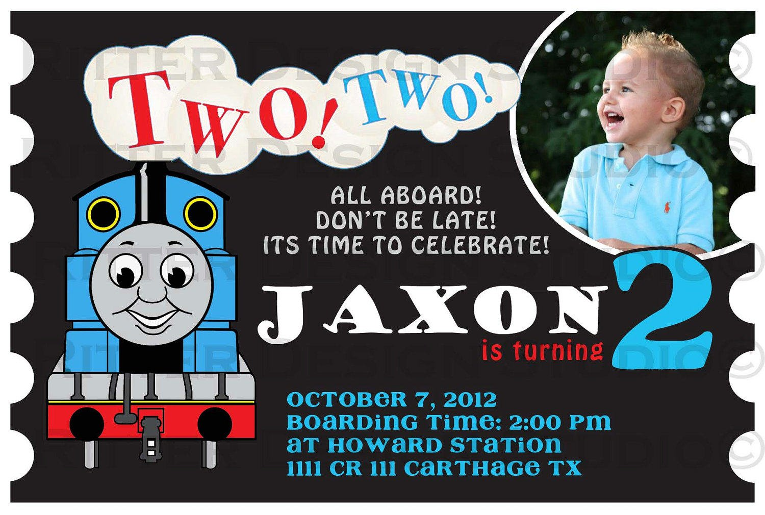 Thomas The Train Birthday Party Invitation Wording Ideas FREE