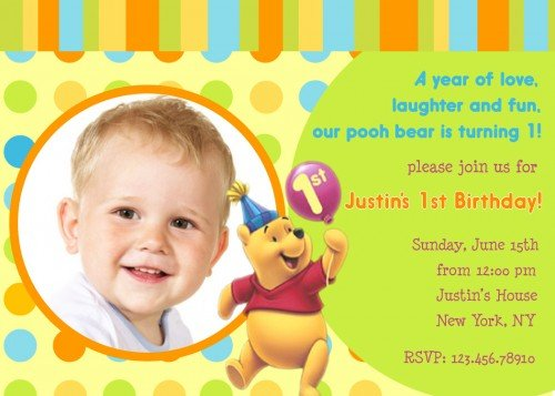 Free printable winnie the pooh birthday invitations drevio winnie the pooh first birthday invitation templates stopboris Image collections