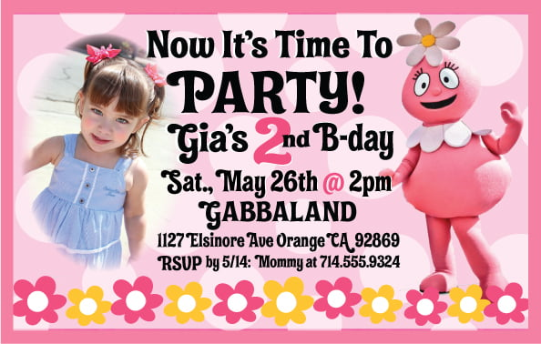 Yo Gabba Gabba Birthday Invitation For Girls
