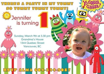 Yo Gabba Gabba Birthday Invitations Custom Photo