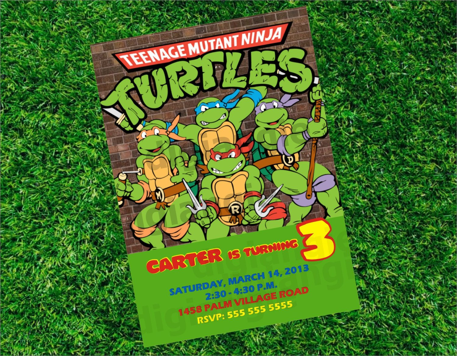 comic style Ninja Turtle Birthday Party Invitations