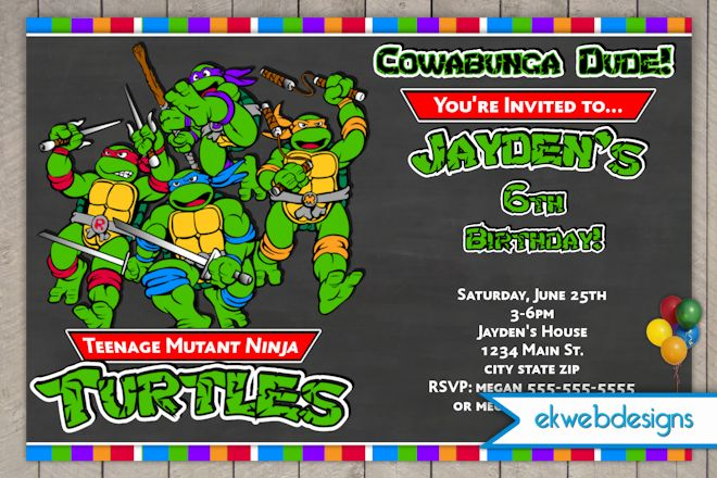 ninja turtle birthday party invitations  drevio invitations design, Birthday invitations
