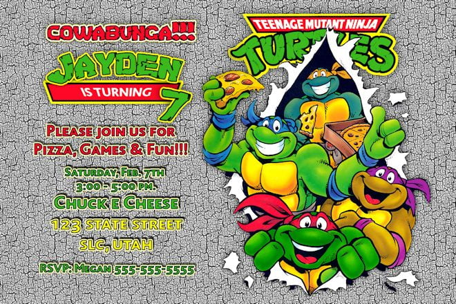 funny Ninja Turtle Birthday Party Invitations