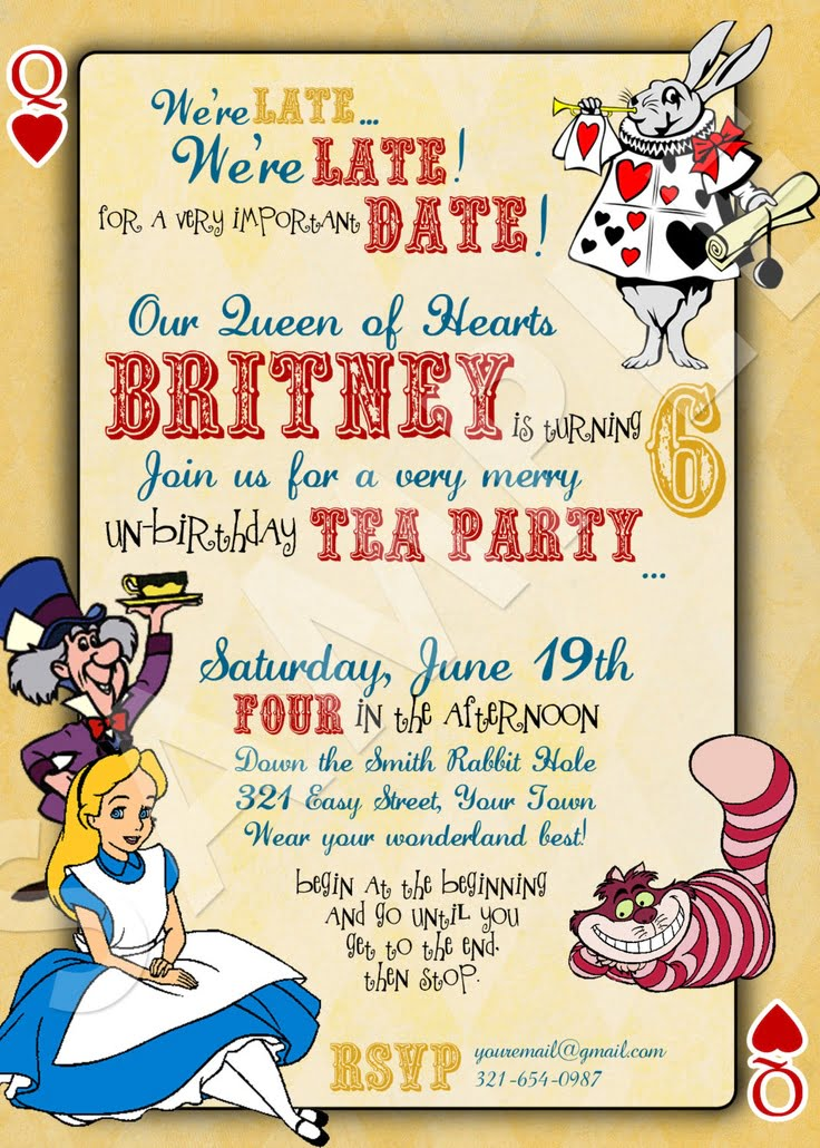 Alice in Wonderland Birthday Invitations | FREE Invitation ...