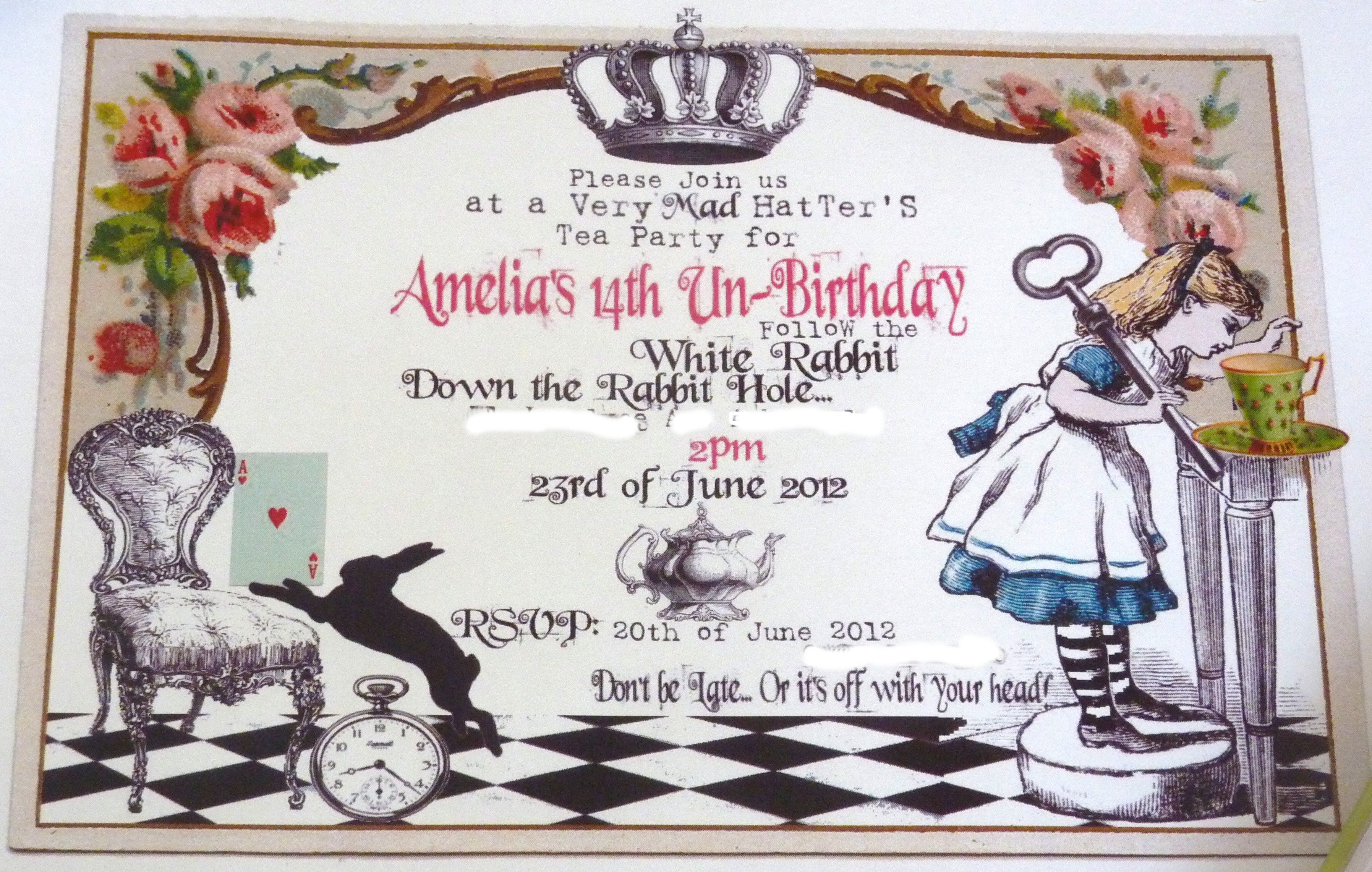 Alice in Wonderland Birthday Invitations FREE Invitation Templates