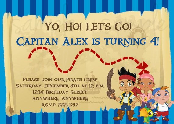 jake and the neverland pirates birthday invitations | drevio, Invitation templates
