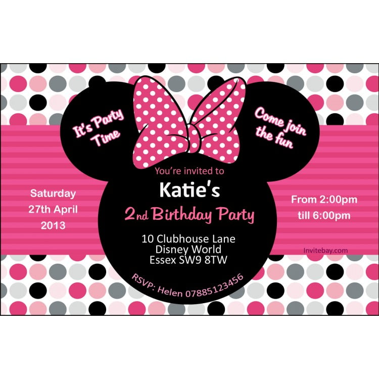 Disney Minnie Mouse Birthday Party Invitations More Words