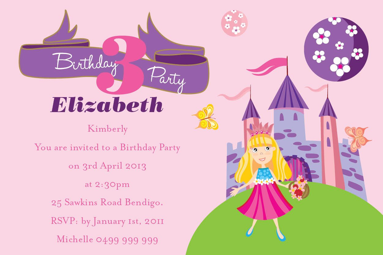 Pink And Princess Birthday Party Invitation Wording Sample For Girls