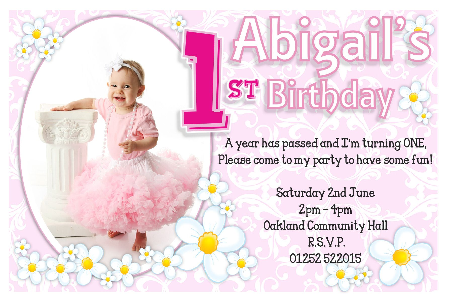 flowers 1st birthday party invitations girl