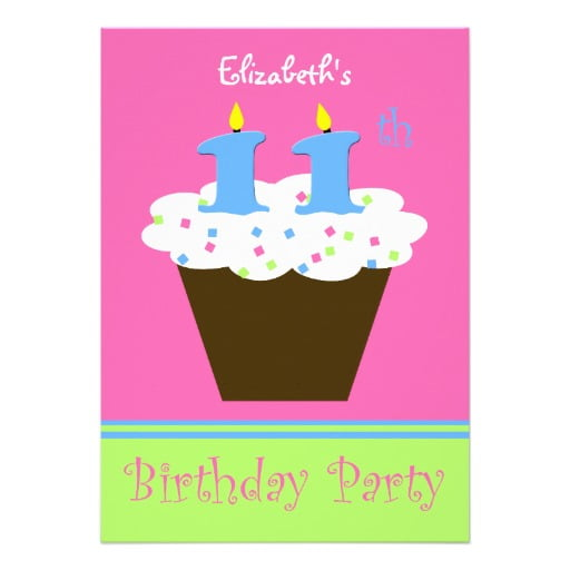 Cupcakes 11th Birthday Party Invitations