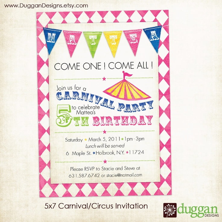Free Printable Carnival Birthday Party Invitations – Invitations Birthday Party Free Printable