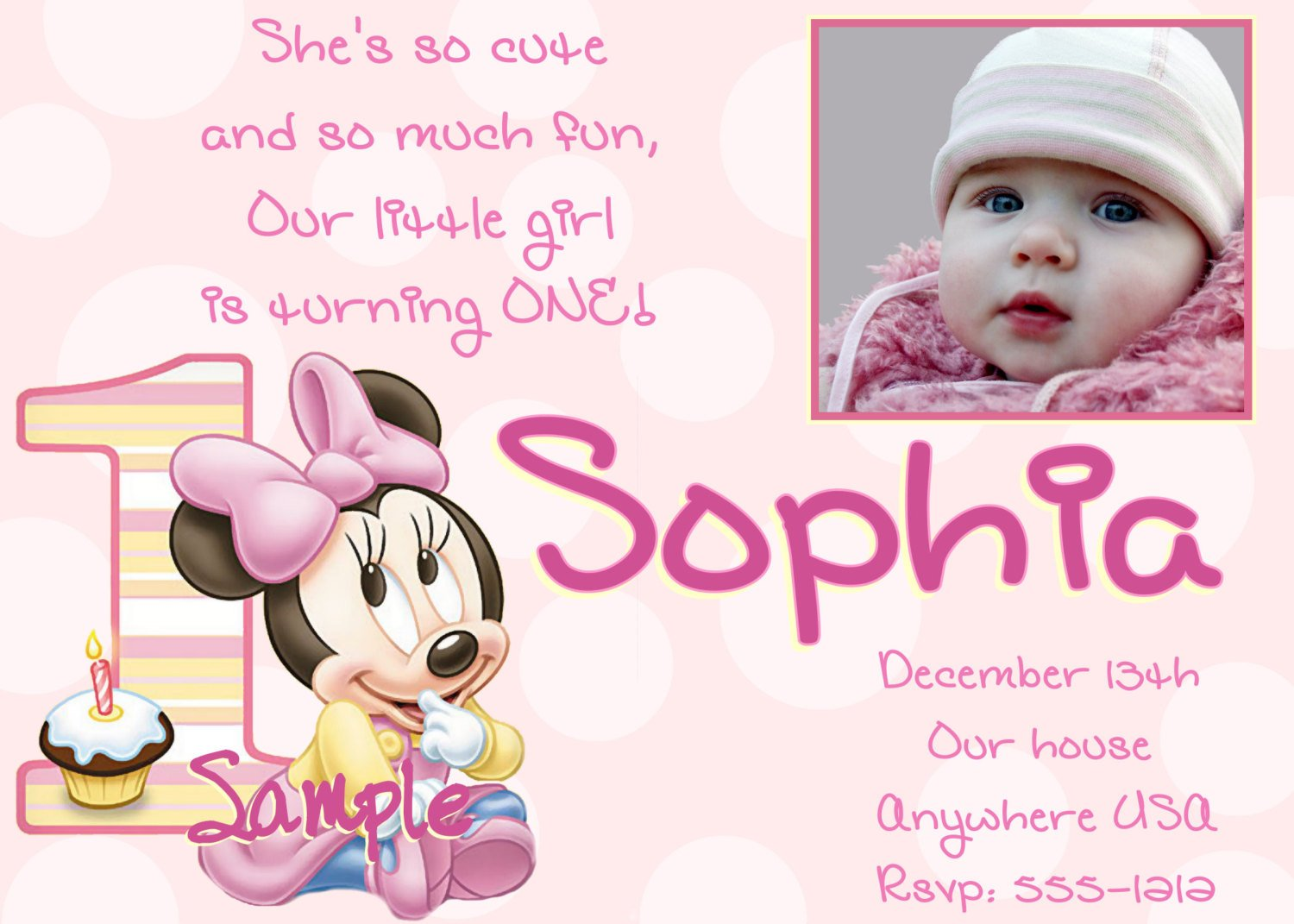 Minnie Mouse Free Printable 1st Birthday Invitations