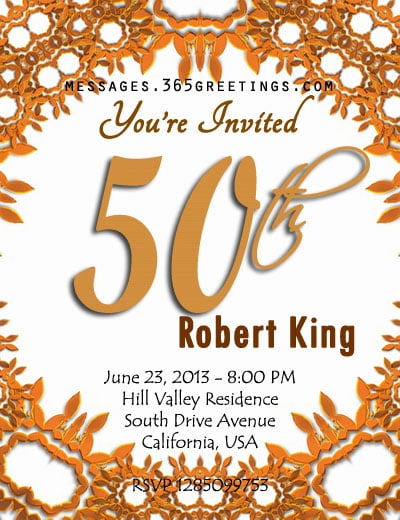 Orange 50th Birthday Party Invitation Templates