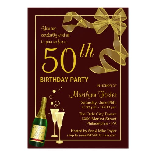 birthday party 50th year old invitation card