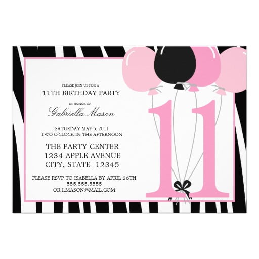 11th birthday party invitations wording drevio invitations design balloon 11th birthday party invitations stopboris