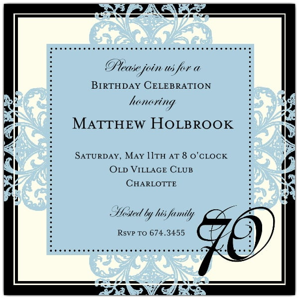 sweet blue 70th birthday invitation party