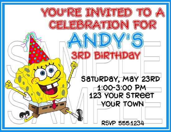 spongebob 2 years old birthday party invitations