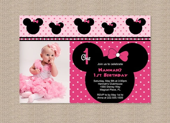 Free Printable Minnie Mouse St Birthday Invitations Drevio - Minnie mouse 1st birthday invitations templates
