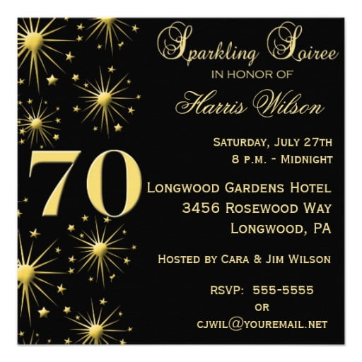 sparkling 70th birthday invitations