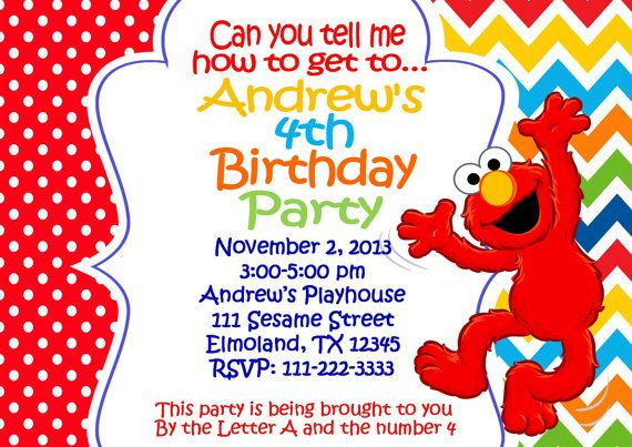 cheerful elmo 1st birthday invitations