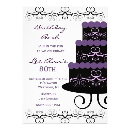 gorgeous 80th birthday invitation templates
