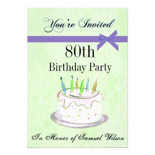 cakes 80th birthday party invitations template