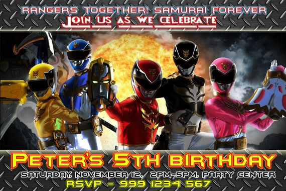 power rangers first birthday party invitations boy