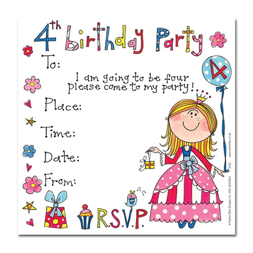 princess 4th birthday party invitations wording
