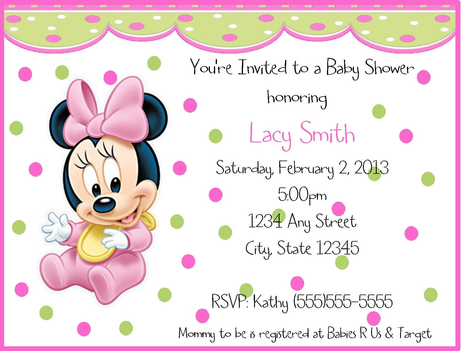 Baby minnie mouse birthday invitations free invitation templates polkadots baby minnie mouse birthday invitations filmwisefo