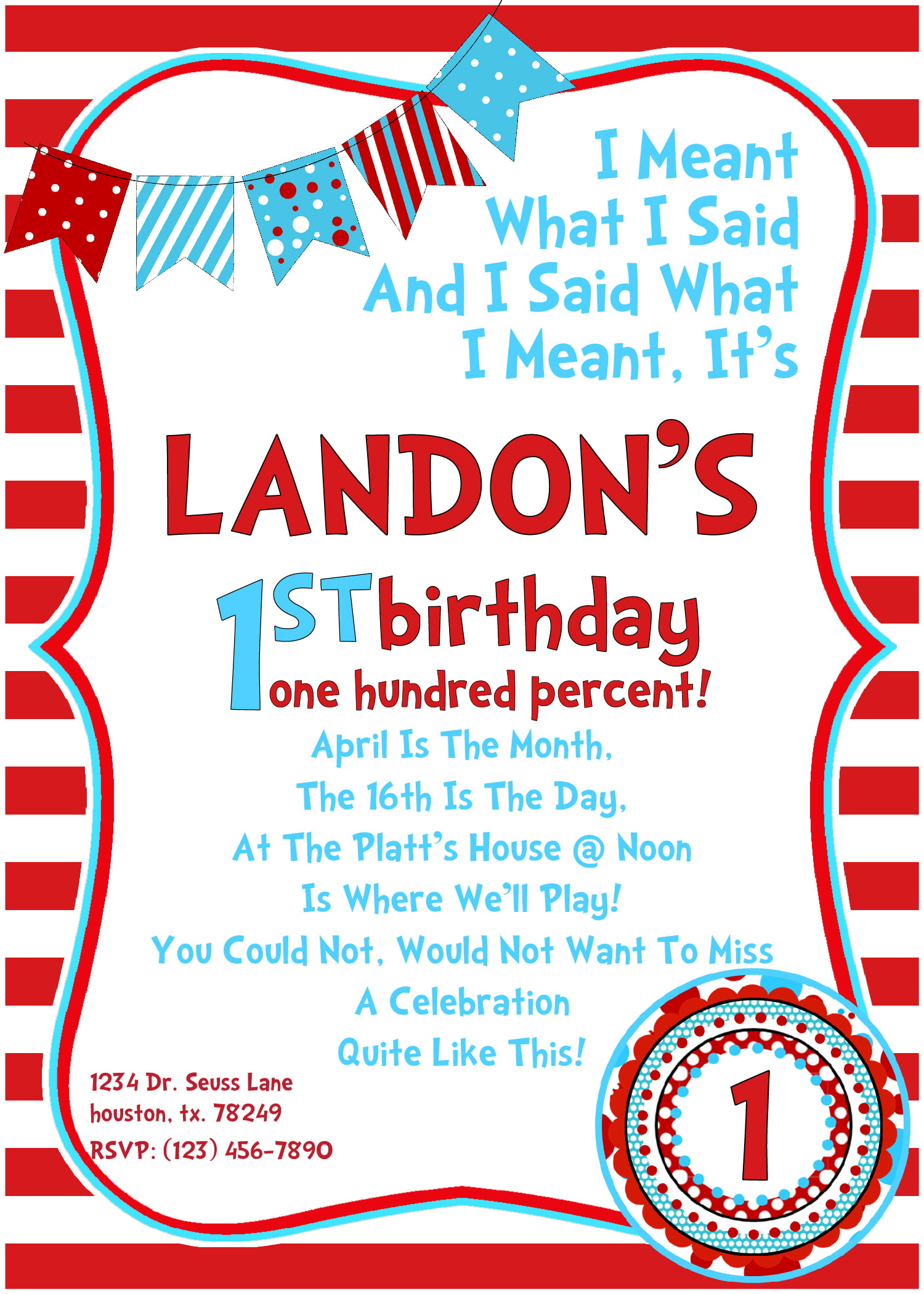 Cheerful Dr Seuss Birthday Invitations Wording