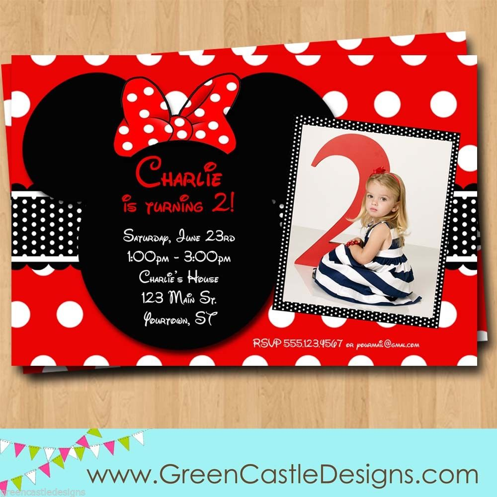 Adorable Customized Minnie Mouse Birthday Invitations