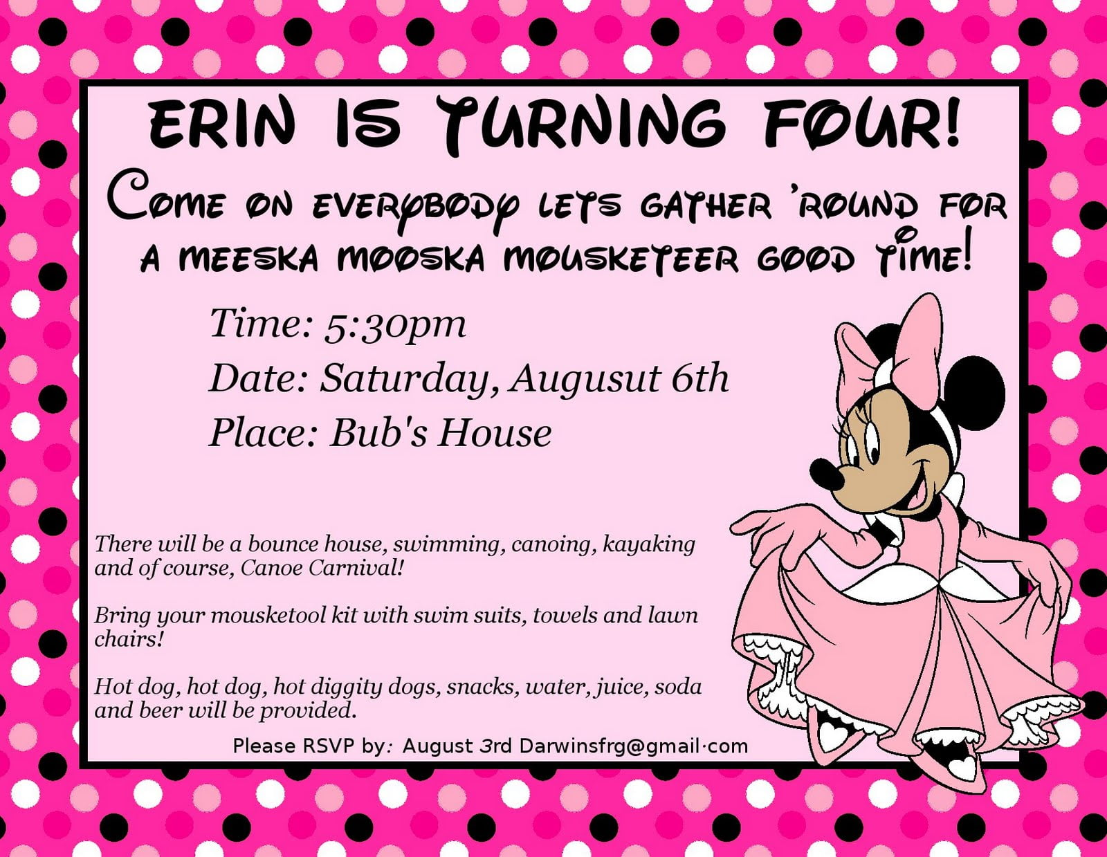 minnie mouse 4th birthday party invitation wording