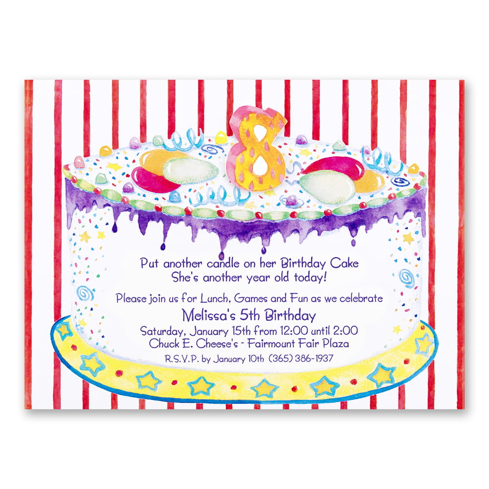 Tart 8th Birthday Party Invitations Wording