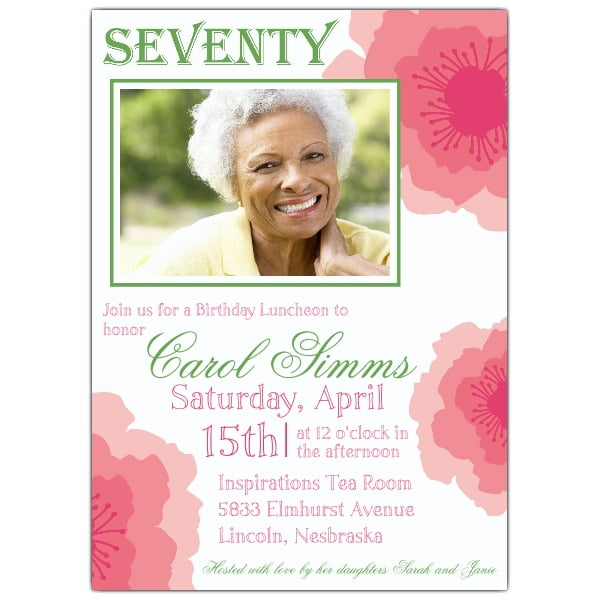 pink 70th birthday invitations