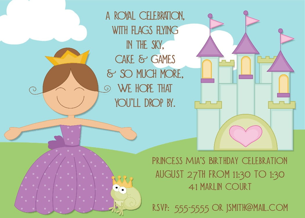 Cute Princess Birthday Party Invitations