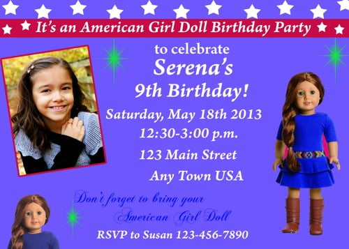 blue american girl dolls birthday invitations