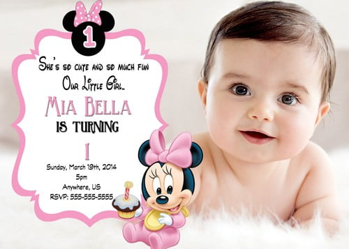 Baby Free Printable Minnie Mouse 1st Birthday Invitations