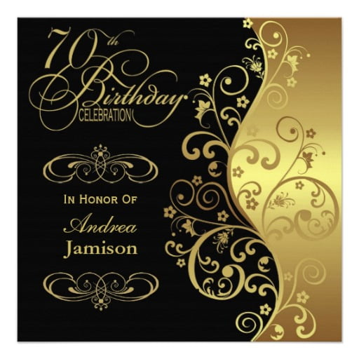 luxurious 70th birthday invitations card