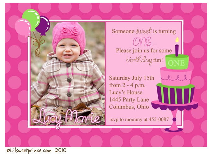 cake 1st birthday party invitations girl