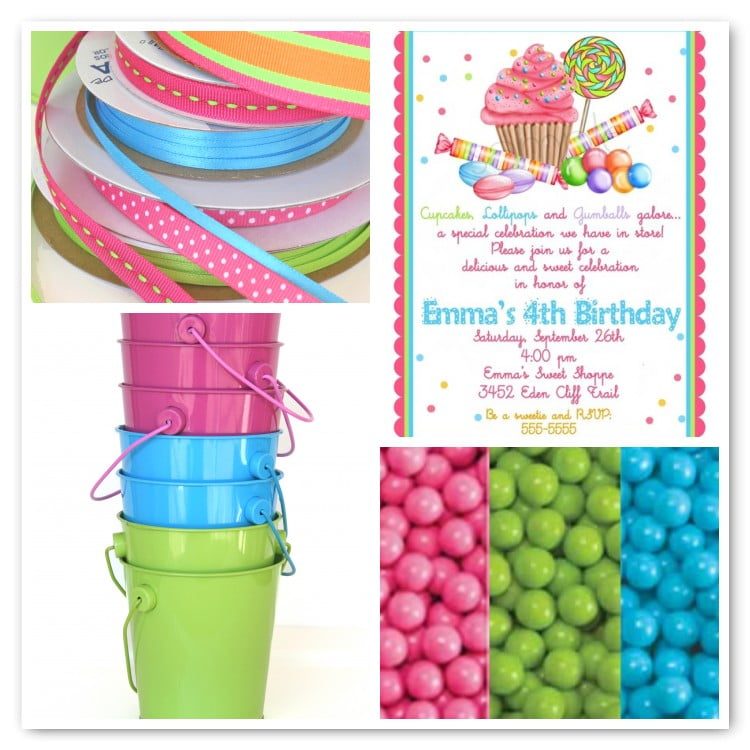 FREE Printable Candy Themed Birthday Party Invitations | FREE ...