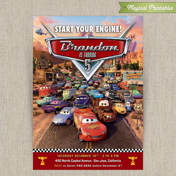 all cast disney cars birthday party invitations