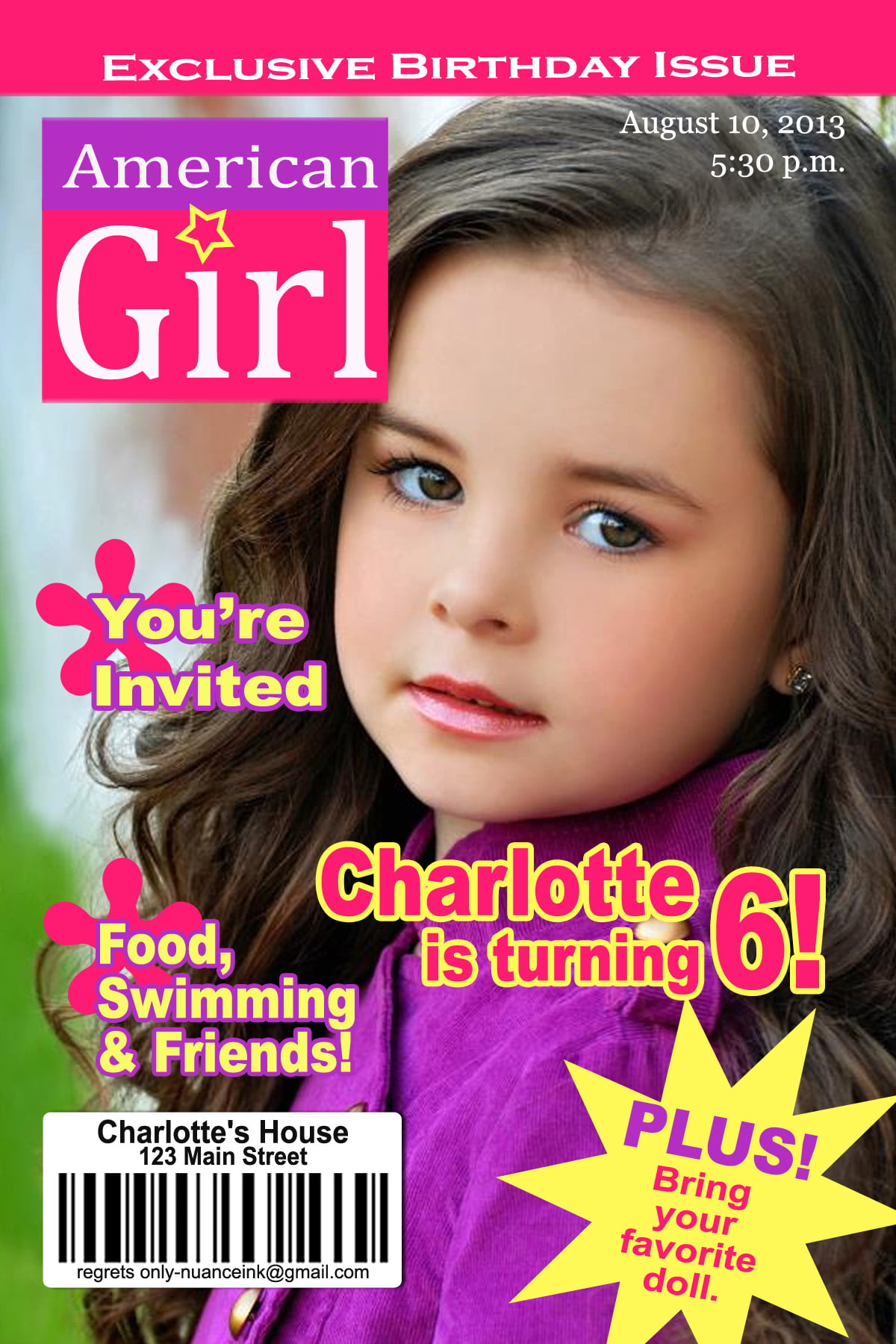 magazine american girl dolls birthday invitations