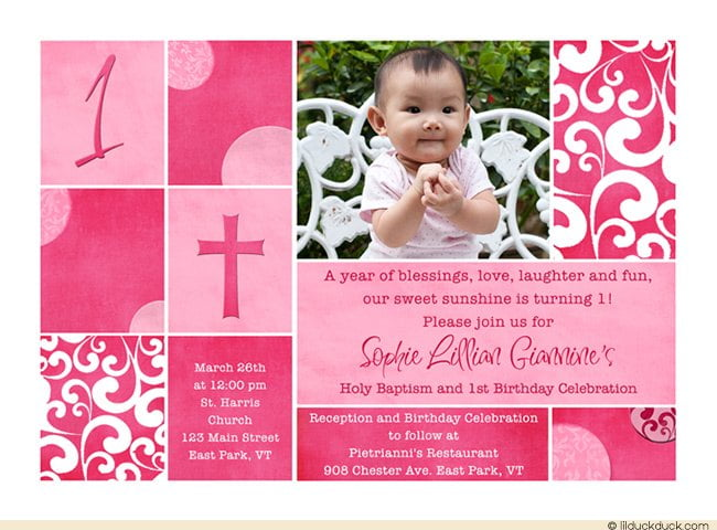 Free Printable First Birthday And Baptism Invitations