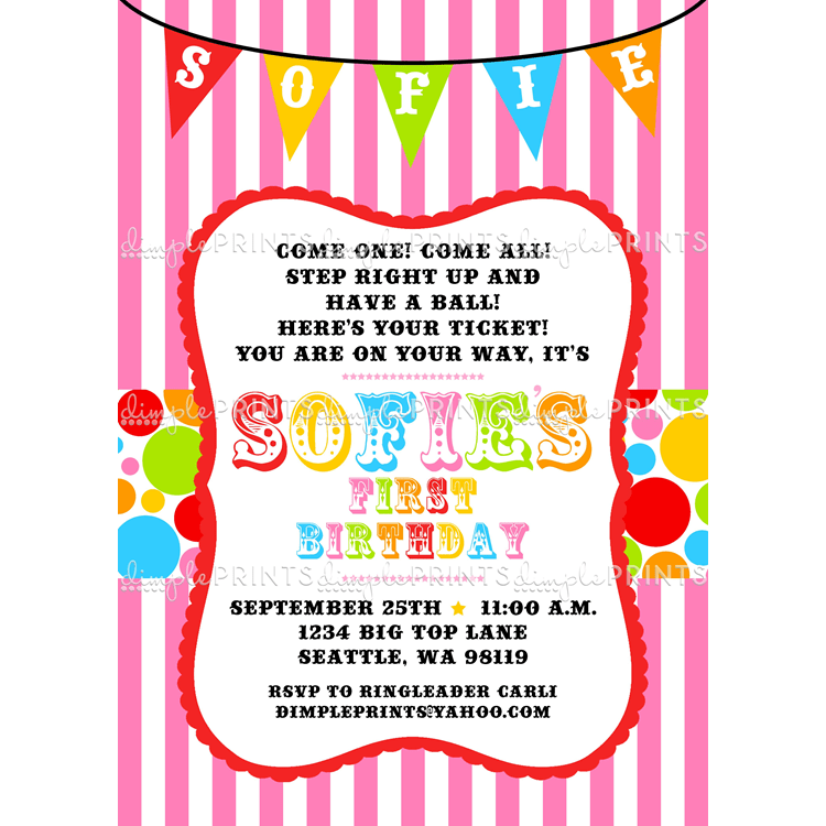 Colorful Printable Carnival Birthday Invitations