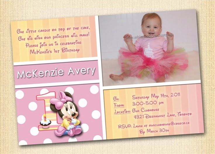 Cute Free Printable Minnie Mouse 1st Birthday Invitations