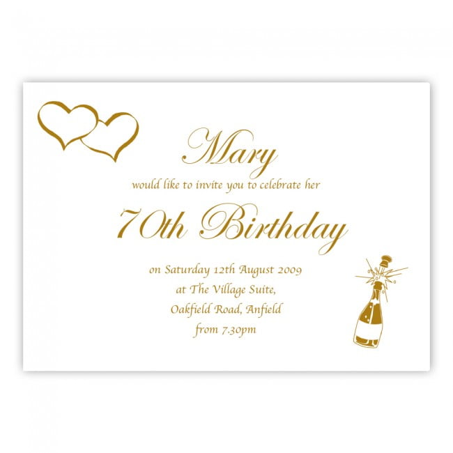 simple 70th birthday invitations