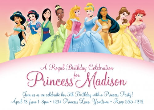 Free Princess Birthday Party Invitations – Disney Princess Party Invitations Printable
