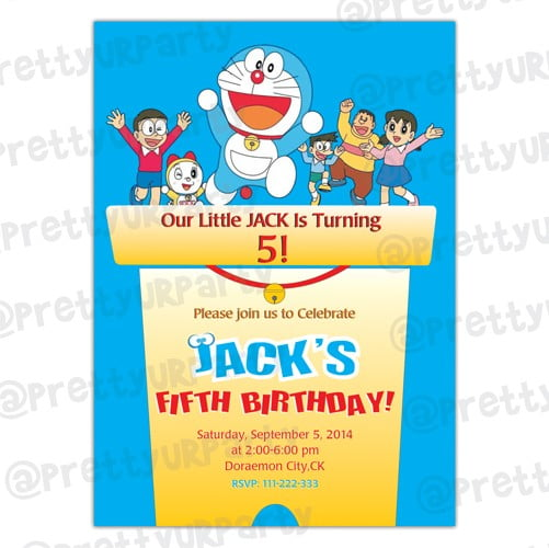 Doraemon All Cast Birthday Party Invitations